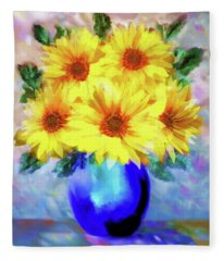 A Vase Of Sunflowers Fleece Blanket