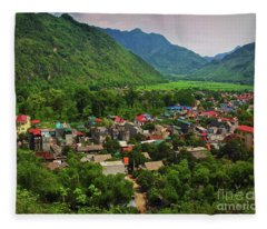 A View From Step 1,153 In Mai Chau, Vietnam, Southeast Asia Fleece Blanket