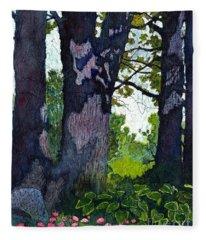 A View Through The Trees Watercolor Batik Fleece Blanket