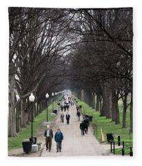 A Walk Along The National Mall In Washington Dc Fleece Blanket