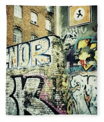 A Wall Of Berlin With Graffiti Fleece Blanket