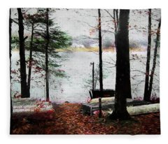 A Windy Day At The Lake Fleece Blanket