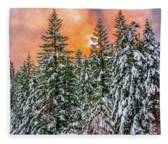 A Winters Sky Set Ablaze Fleece Blanket