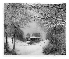 A Winter's Tale In Centerport New York Fleece Blanket