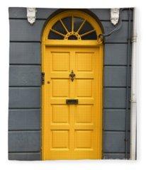 A Yellow Door In Ireland Fleece Blanket