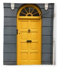 A Yellow Door In Ireland Fleece Blanket