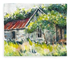 Abandoned Farmhouse In The Ozark Mountains On The Gravel Road To Hawk's Bill Crag At Whitaker Point Fleece Blanket