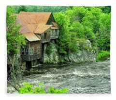 Abandoned Home By The River Fleece Blanket