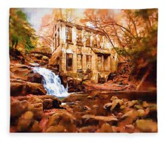 Abandoned Mill View Fleece Blanket