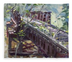 Abandoned Railroad Bridge In Tonawanda Fleece Blanket