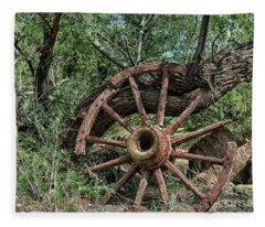 Abandoned Wagon Wheel Fleece Blanket