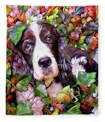 Abbi The Bench English Springer Spaniel Fleece Blanket