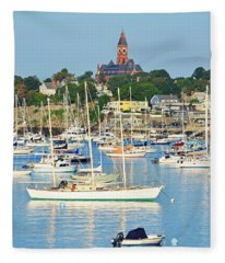 Abbot Hall Over Marblehead Harbor From Chandler Hovey Park Fleece Blanket