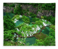 Above The Paths And Waterfalls At Plitvice Lakes National Park, Croatia Fleece Blanket
