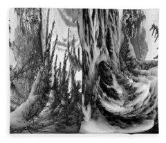 Abstrace Snow Pines Fleece Blanket