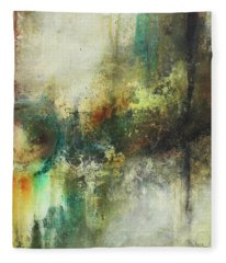 Abstract Art With Blue Green And Warm Tones Fleece Blanket