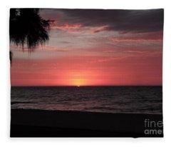 Abstract Beach Palm Tree Sunset Fleece Blanket