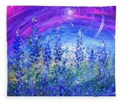 Abstract Bluebonnets Fleece Blanket