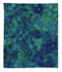Fleece Blanket featuring the mixed media Abstract Blues 1 by Clare Bambers