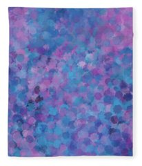 Fleece Blanket featuring the mixed media Abstract Blues Pinks Purples 3 by Clare Bambers