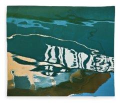 Abstract Boat Reflection Fleece Blanket