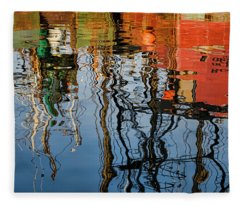 Abstract Boat Reflections Iv Fleece Blanket