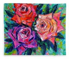 Abstract Bouquet Of Roses Fleece Blanket
