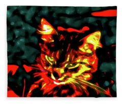 Abstract Cat Fleece Blanket