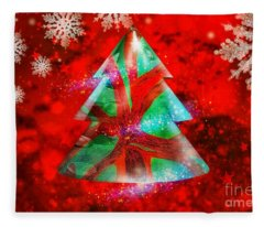 Abstract Christmas Bright Fleece Blanket