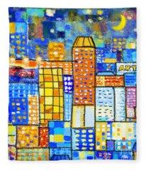 Abstract City Fleece Blanket