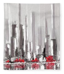 Abstract Cityscape Painting - 1 Fleece Blanket