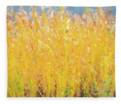 Abstract Colorful Cattails Grasses Painting Fleece Blanket