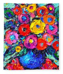 Abstract Colorful Wild Roses Modern Impressionist Palette Knife Oil Painting By Ana Maria Edulescu  Fleece Blanket