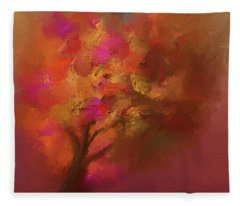 Abstract Colourful Tree Fleece Blanket