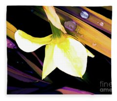 Abstract Daffodil And Droplets Fleece Blanket