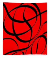 Abstract Design In Red And Black Fleece Blanket