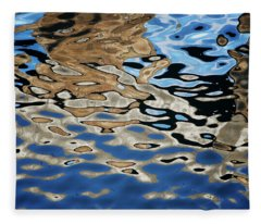 Abstract Dock Reflections I Color Fleece Blanket