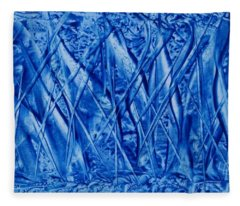 Abstract Encaustic Blues Fleece Blanket