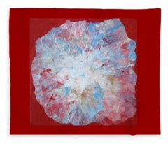Abstract Flower In Red White And Blue Fleece Blanket
