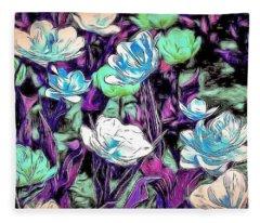 Abstract Flowers  Fleece Blanket