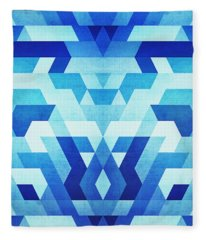 Abstract Geometric Triangle Pattern Futuristic Future Symmetry In Ice Blue Fleece Blanket