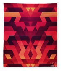 Abstract  Geometric Triangle Texture Pattern Design In Diabolic Future Red Fleece Blanket
