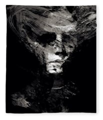 Abstract Ghost Black And White Fleece Blanket