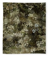 Fleece Blanket featuring the mixed media Abstract Gold Black White 5 by Clare Bambers