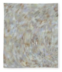 Fleece Blanket featuring the mixed media Abstract Gold Cream Beige 6 by Clare Bambers
