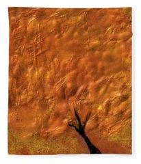 Abstract Gold Tree Fleece Blanket