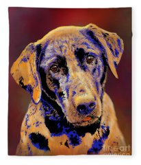 Abstract Golden Labrador Retriever Painting Fleece Blanket