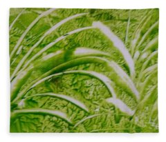 Abstract Green And White Leaves And Grass Fleece Blanket