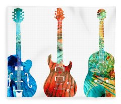 Abstract Guitars By Sharon Cummings Fleece Blanket