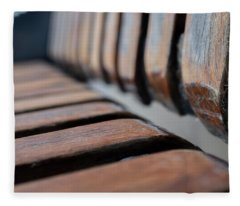 Abstract Image Of A Park Bench Near The Water In Green Bay Wisconsin Fleece Blanket